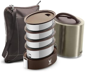 Vaya Tyffyn Jumbo Polished Stainless Steel Lunch Box with Bagmat, 1300 ml, 4 Containers, Graphite