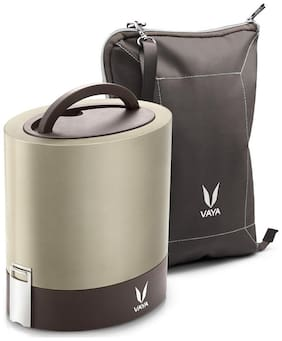 Vaya Tyffyn 1000ml Graphite Lunch Box with BagMat - Polished Stainless Steel 3-Container Tiffin Box