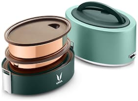 Vaya Tyffyn Copper-Finished Stainless Steel Lunch Box without Bagmat, 600 ml, 2 Containers, Green