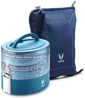 Vaya Tyffyn 600ml Denim Lunch Box with BagMat - Polished Stainless Steel 2-Container Tiffin Box