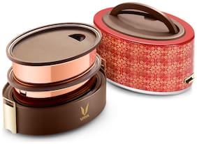 Vaya Tyffyn Copper-Finished Stainless Steel Lunch Box without Bagmat, 600 ml, 2 Containers, Zari