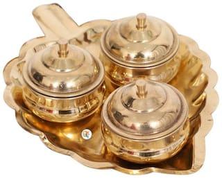 Veda Gold Brass Supari Plate Big 1 (5 X 19 X 14cms) -Pack of 1