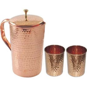 VEDA HOME & LIFESTYLE COPPER HAMMERED LARGE JUG WITH 2 GLASSES