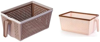 Vegetable And Fruit Frill Basket(Set Of Two)(Dark Brown And Light Brown)