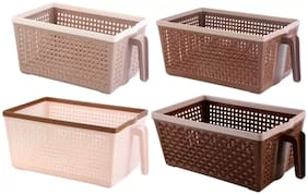Vegetable And Fruit Frill Basket(Set Of Four)(Shades Of Brown)
