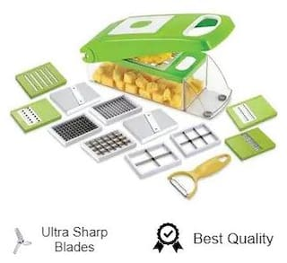 Vegetable & Fruits 12 Cutter,Blades Slicer, Dicer Grater & Chopper With Unbreakable ABS Body And Heavy Stainless Steel Blades Chopper (Green) By Fortune Tardelink