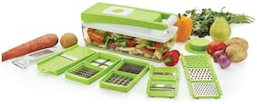 Vegetable & Fruits 12 Cutter,Blades Slicer, Dicer Grater & Chopper With Unbreakable ABS Body And Heavy Stainless Steel Blades Chopper (Green)