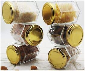 Venus Aqua Hexagon Jars 500 ml with Air Tight Lids for Jam Honey Jelly Food Spice Jars/Kitchen Utility Jar DIY Crafts Canning Jars (6)