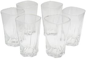 Verma 300 ml Transparent Water/Juice Glass Set-Q15