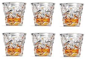 Verma Diamond Cutting Transparent Whiskey/Water/Juice Glass Set, 300ml, ( Pack Of 6 )