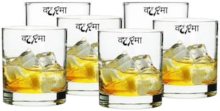 Verma Old Fashioned Transparent Whiskey/Water/Juice Glass Set, 350ml, ( Pack Of 6 )