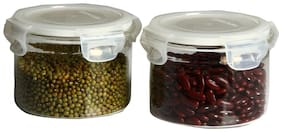 VERTIS Set of 2 Storage Jars Borosilicate Glass Canisters with Quad Lock AirTight PP LID 300 mL;Small