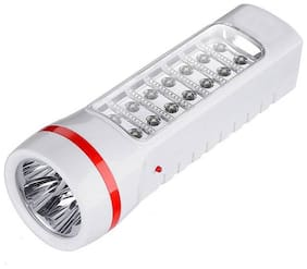 Vibama 110- Rechargeable 2 In 1 Torch + Led Emergency Light Led Lamp Emergency Light (White)