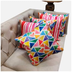 Good Vibes Printed Polyester Square Shape Assorted Cushion Cover ( Regular , Pack of 5 )