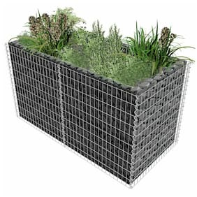 "vidaXL Gabion Planter Steel 71""x35.4""x39.4"" Silver Garden Outdoor Flower Box"