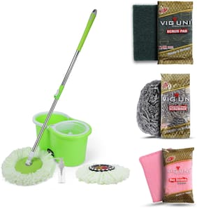 Viguni Home Cleaning Set of Bucket Spin Mop, Nylon Scrub Pad, Steel Wire Scrubber and Non Scratch Dish Cloth|All in One