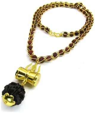 vINEY cOLLECTION Shiv Shakti Kavach 5 Mukhi Rudraksha Mala With Shiv Trishul & Damru Brass Necklace Brass Brass Pendant Set