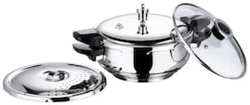 Vinod Cookware SMGPC- 3.5 Stainless Steel 3.5 L Induction Bottom Outer Lid Pressure Cooker - Set of 1 , ISI Certified