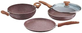 Vinod Cookware BETA MAX Non stick Induction Friendly Cookware set - 3 Pieces;Brown