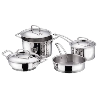 Vinod Cookware Cookware Combos Induction Bottom ( Stainless Steel , Set of 4 )