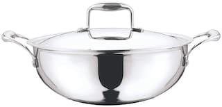 Vinod Cookware 3.3 L With Lid Kadhai Induction Bottom ( Stainless steel , Set of 1 )