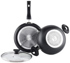 Vinod Cookware Non-Stick Marbilo kadhai and frypan Cookware Set 2-Pieces (Induction Friendly)