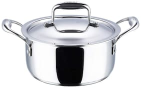 Vinod Cookware Platinum Triply Stainless Steel Saucepot with Lid- 18 cm;1.8 L (Induction Friendly)