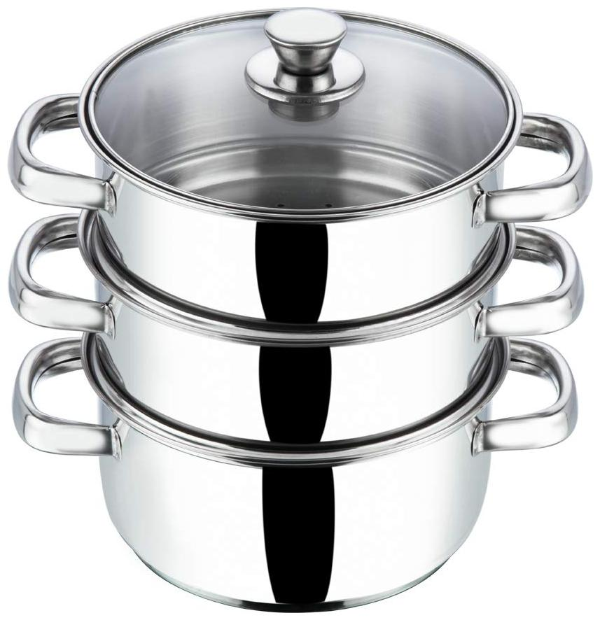 Vinod Cookware Stainless Steel 3 Tier Steamer with Glass Lid  20 cm  Induction Friendly  by Hardtrac Computer Services