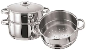 Vinod Stainless Steel 3 Tier Steamer with Glass Lid- 18cm (Induction Friendly)
