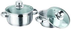Vinod Cookware Breman Sauce Pot With Glass Lid, Set Of 2 pc, 14 cm and 16 cm, Stainless Steel