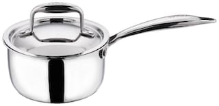 Vinod Cookware Platinum Triply Induction Friendly Stainless Steel Sauce Pan With Lid,16 Cm,1.6 L