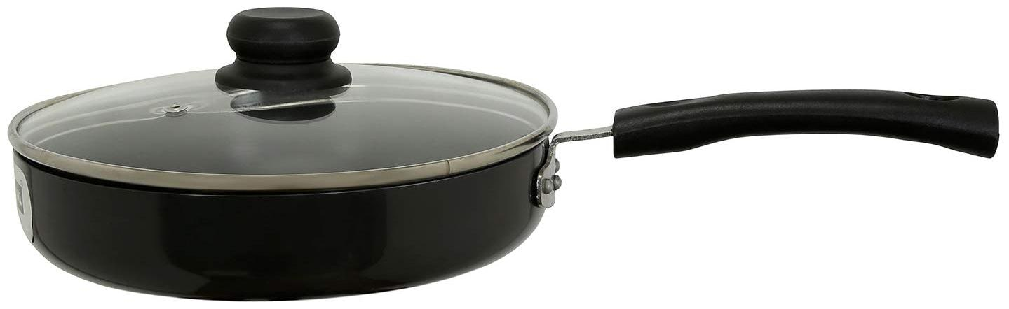 Vinod Cookware Hard Anodised Induction Friendly Deep Fry Pan with Lid;24 cm