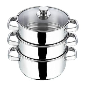 Vinod Cookware Stainless Steel 3 Tier Steamer with Glass Lid -20 cm (Induction Friendly)