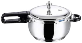 Vinod Cookware Stainless Steel 3.5 L Induction Bottom Outer Lid Pressure Cooker - Set of 1 , ISI Certified