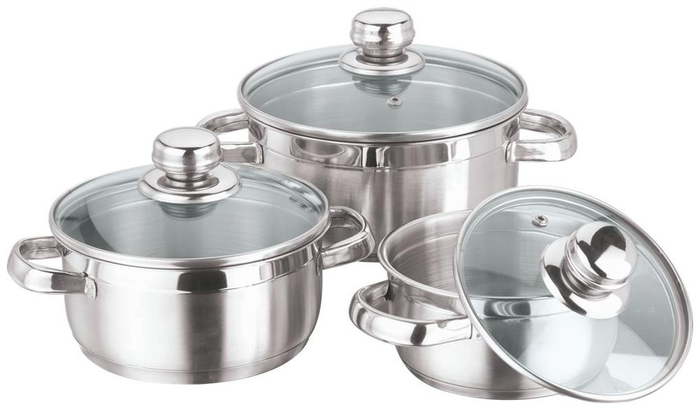 Vinod Cookware Breman Sauce Pot With Glass Lid, Set of 3 pc, 14 cm, 16 cm and 18 cm, Stainless Steel