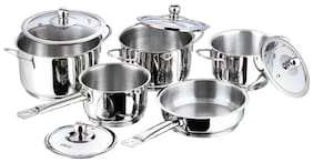 Vinod Stainless Steel Induction Friendly Tuscany Set, 5-Pieces