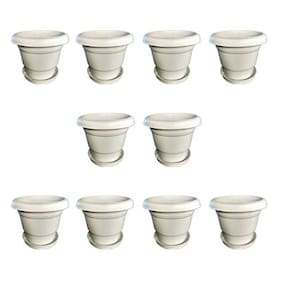 Virgin Plastic 25.4 cm (10 inch) Planter With Plate- Set of 10