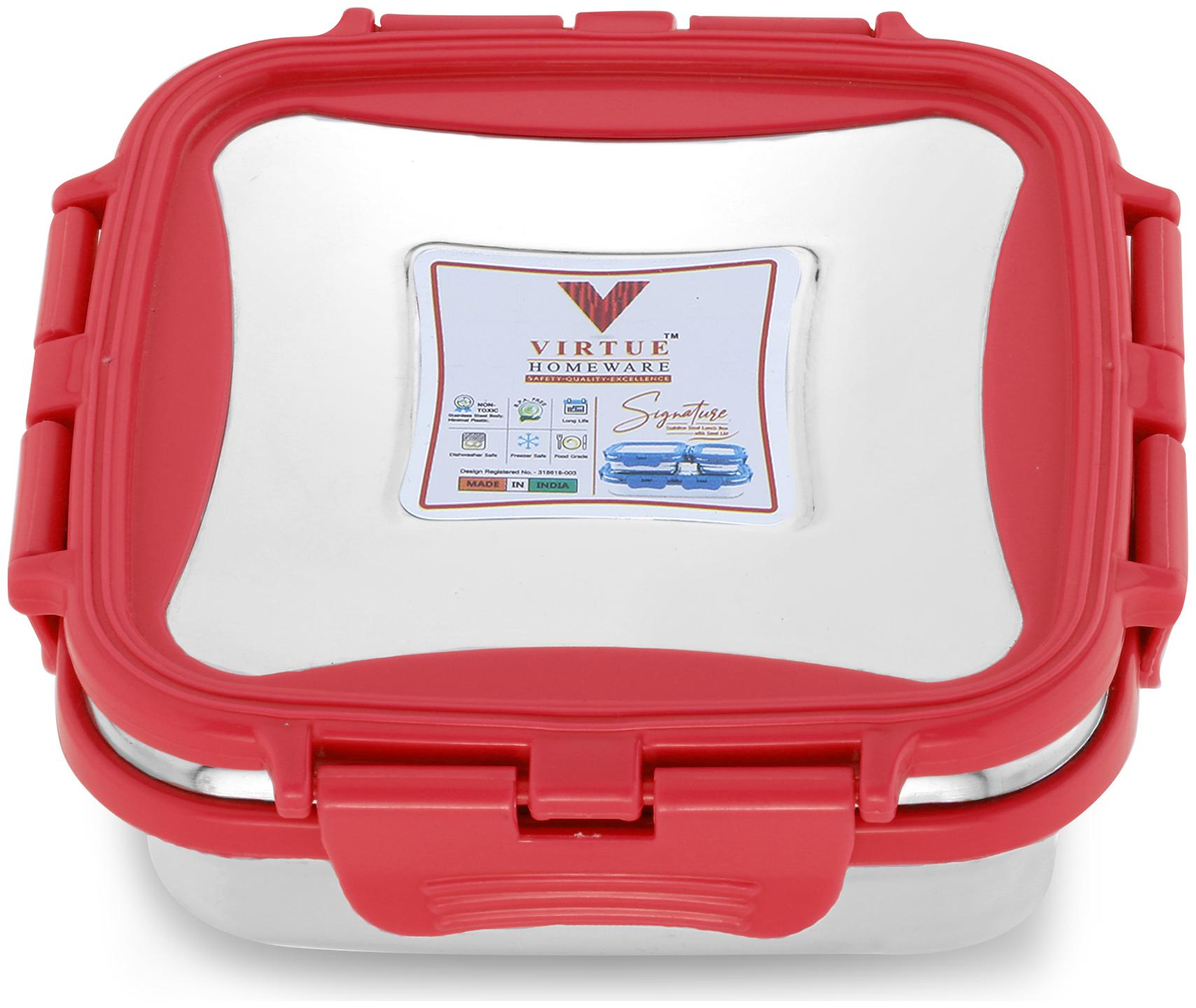 Virtue Homeware Stainless Steel Lunch Box Set  1 Red container  330ml Lunch Box