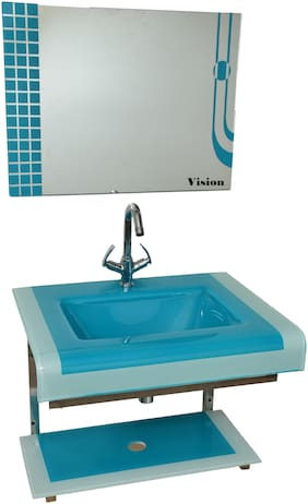 Vision Glass Wash Basin With Mirror, Self & Steel Stand