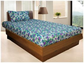 Vissage Cotton Printed Single Size Bedsheet ( 1 Bedsheet With 1 Pillow Covers , Multi )