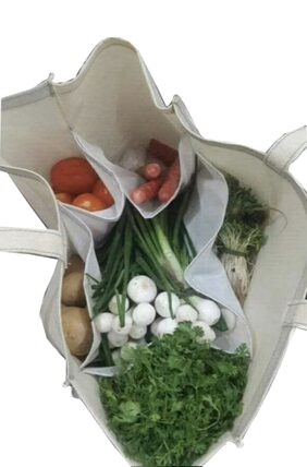 VITARA Organics Eco Vegetable Bag with Pockets for Purchase Vegetables, Provision and More