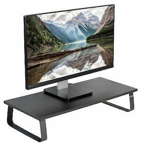 "VIVO Black Wood 24"" Wide Desktop Stand Ergonomic TV Monitor Riser Desk Organizer"