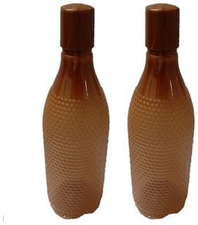 VJ 1000 ml Plastic Brown Fridge Bottles - Set of 2