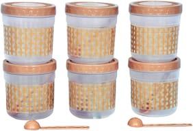 VJ 1000 ml Golden Plastic Container Set - Set of 6