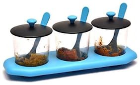 VJ Multipurpose Dining Pickle Storage Jars with Lids & Tray Holder (3 Containers;3 Spoons;3 Lids;1 Holding Tray) Blue