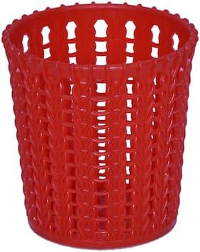 VJ Premium Quality plastic Round Storage box / organizer / bin Utility;Living room Storage Basket bin Kitchen Red color