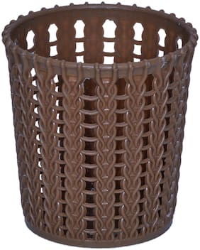 VJ Premium Quality plastic Round Storage box / organizer / bin Utility;Living room Storage Basket bin Kitchen Brown color