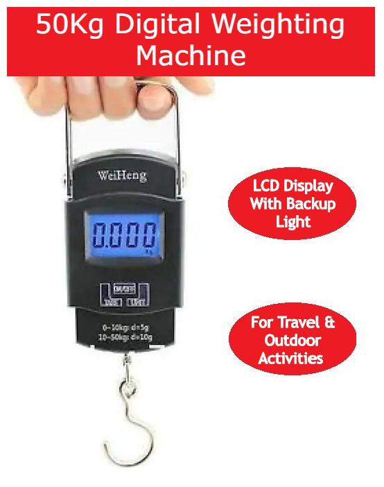 Vmore 50kg Portable Luggage Hanging Weight Machine Digital Weighing Scale