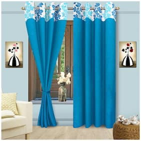 Cortina Vorhang Floral Blue Window Curtain With Lining 1 Pc