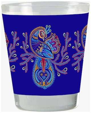 Vratim Vodka Shot Glass;Tequila Shot Glass;Chocolate Glass;Whisky Glass Blue Peacock Design Gold Plated 40 ML Multicolor Bar Accessory